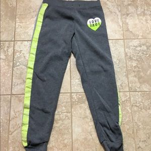 Gray love joggers lime green
